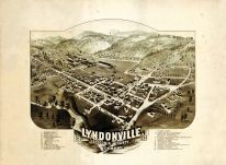 Lyndonville 1884 Bird's Eye View 17x22, Lyndonville 1884 Bird's Eye View